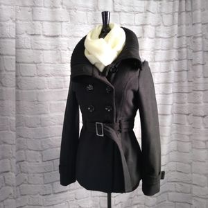 Rue 21 Double-breasted Black Wool Pea Coat